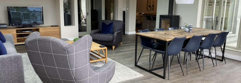 Amber Cottage - Luxury Cottage, Hot Tub, Sea Views and Log Burner - Living Room